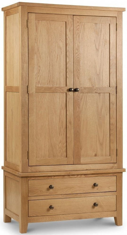 Julian Bowen Marlborough 2 Door 2 Drawer White American Oak Combination Wardrobe - ImagineX Furniture & Interiors
