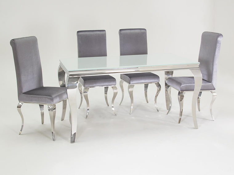Louis White Glass 160cm Dining Table + 6 Silver Velvet Dining Chairs
