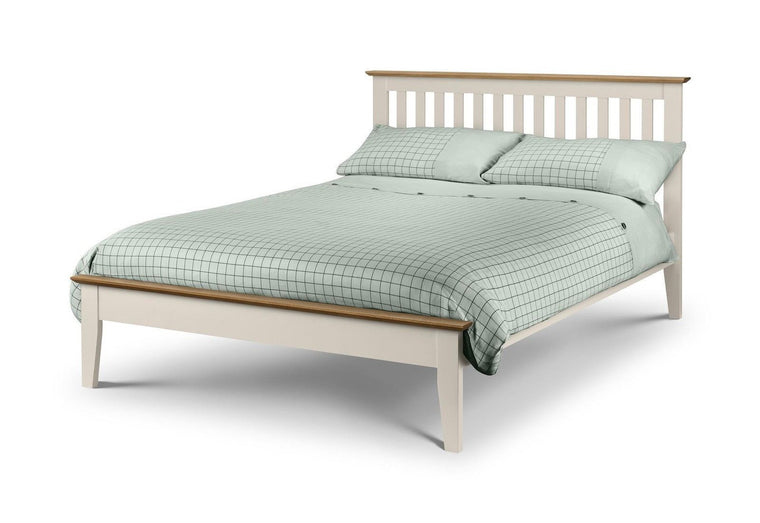 Julian Bowen Salerno 5'0 150cm King Size Solid Oak & Stone White Bed Frame