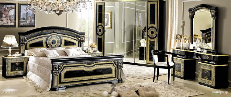 Aida Black and Gold Italian Bedroom Set - Full Range Available