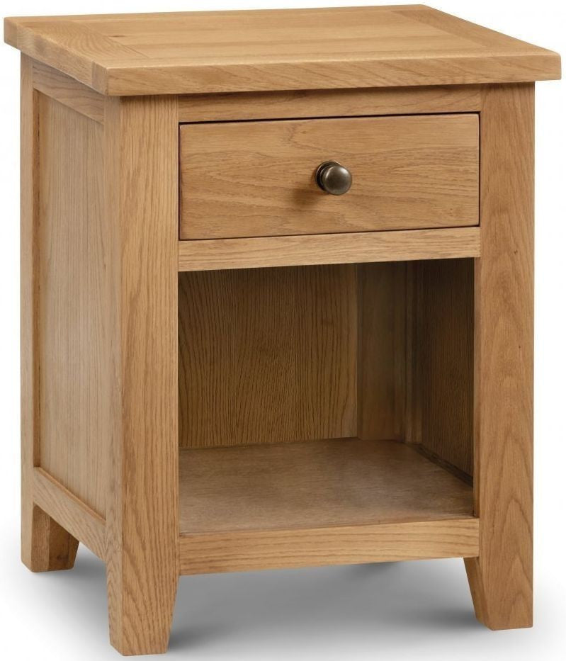 Julian Bowen Marlborough 1 Drawer Natural Oak Bedside Cabinet - ImagineX Furniture & Interiors