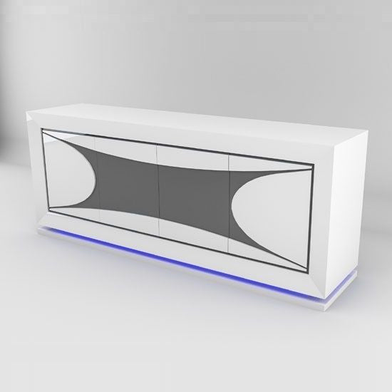 New Portofino  Sideboard In White High Gloss And Grey With LED Lights
