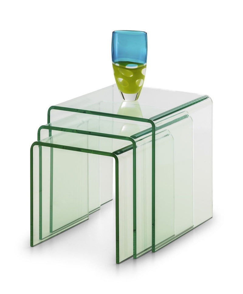 Julian Bowen Amalfi Designer Bent Clear Safety Glass Nest Of Tables (Set of 3) - ImagineX Furniture & Interiors