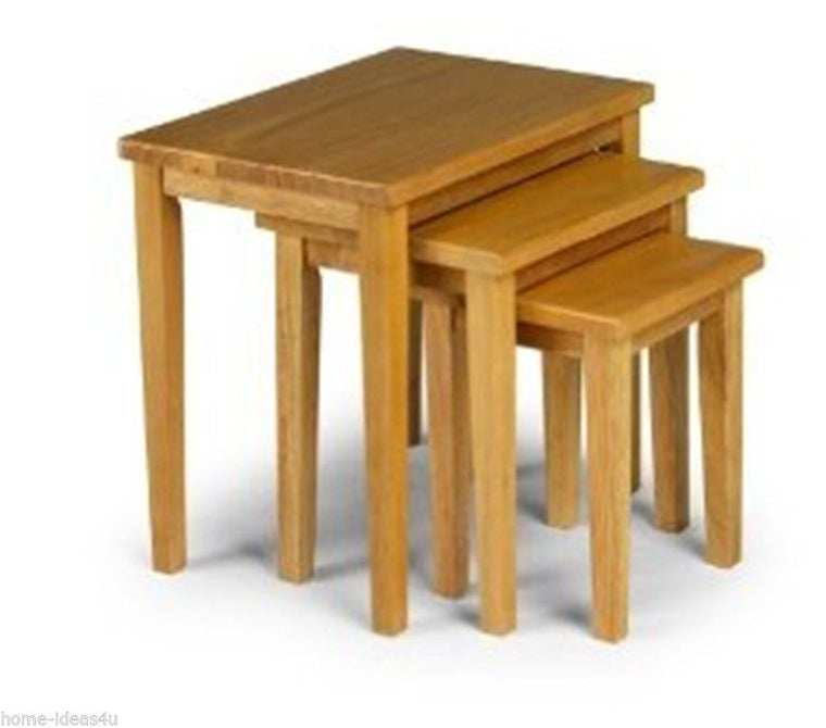 New Julian Bowen Cleo Oak Nest of Tables Solid Rubberwood - Free Delivery