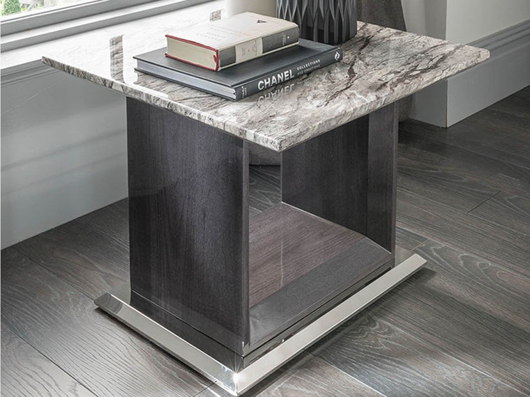 New Stunning Donatella Grey Marble Lamp Table - Living Room Furniture