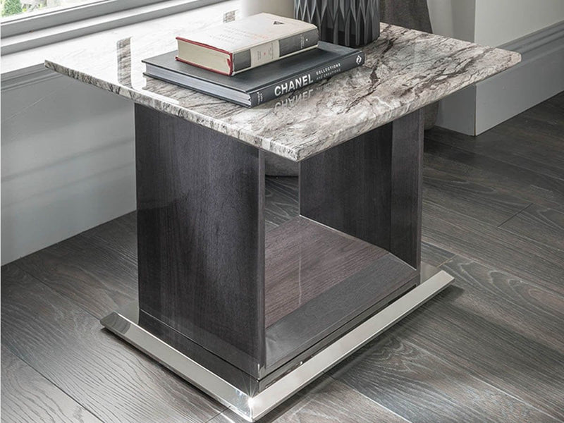 New Stunning Donatella Grey Marble Lamp Table - Living Room Furniture - ImagineX Furniture & Interiors