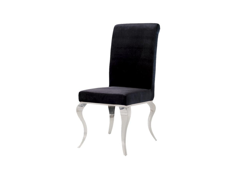 Louis Black Glass 160cm Dining Table + 4 Black Velvet Dining Chairs - ImagineX Furniture & Interiors