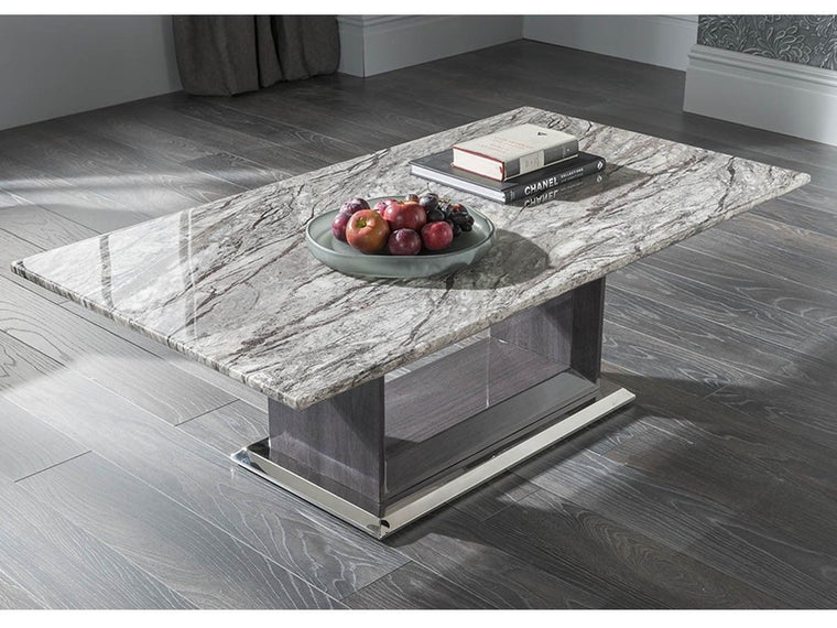 New Stunning Donatella Grey Marble Coffee Table - Living Room Furniture