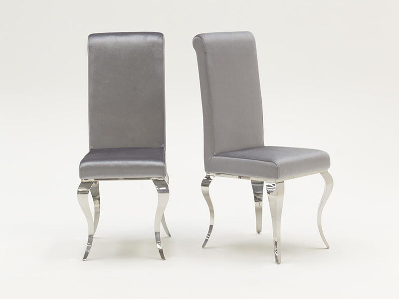 Louis White Glass 160cm Dining Table + 8 Silver Velvet Dining Chairs - ImagineX Furniture & Interiors