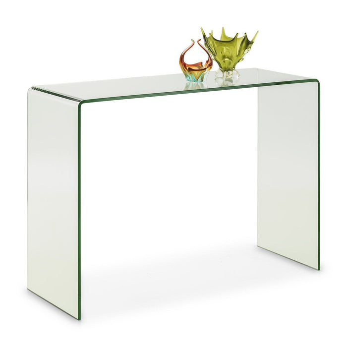 Julian Bowen Amalfi Designer Bent Clear Safety Glass Hall Console Table - ImagineX Furniture & Interiors