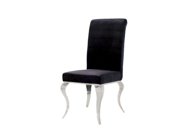 Louis Black Velvet Fabric Dining Chair