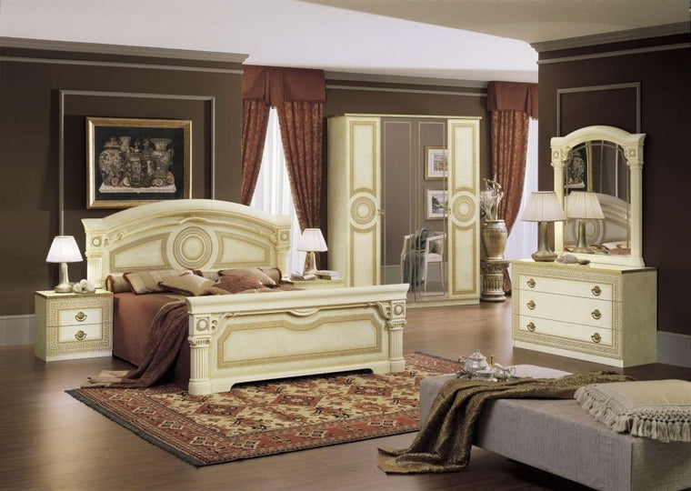 Aida Cream Italian Bedroom Set - Full Range Available