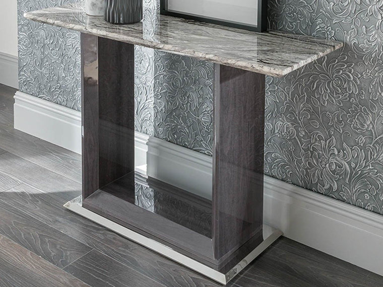 Donatella Grey Marble Console Table