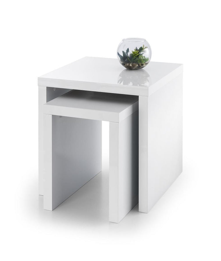 New Metro Set Of 2 Designer White High Gloss Nest Of Tables