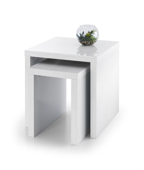 New Metro Set Of 2 Designer White High Gloss Nest Of Tables - ImagineX Furniture & Interiors