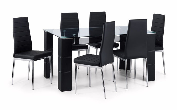 Julian Bowen Greenwich Chrome & Glass Dining Table & 6 Chairs Black Faux Leather - ImagineX Furniture & Interiors