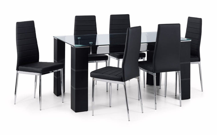 Julian Bowen Greenwich Chrome & Glass Dining Table & 6 Chairs Black Faux Leather
