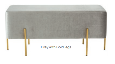 Maddison Velvet Fabric Stainless Steel Bench - 3 Colours - ImagineX Furniture & Interiors