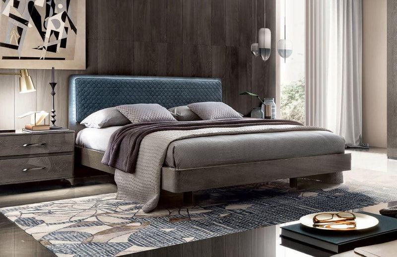 Maia Night Silver Birch Italian Bed with Blue Headboard + Storage Option - Modern Home Interiors