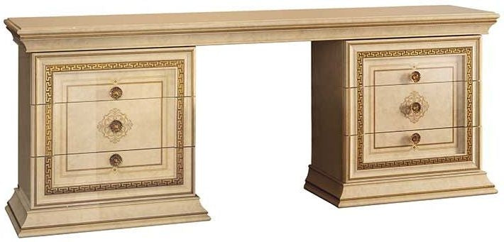 Leonardo Golden Italian Dressing Set with Large Mirror and Pouf - ImagineX Furniture & Interiors