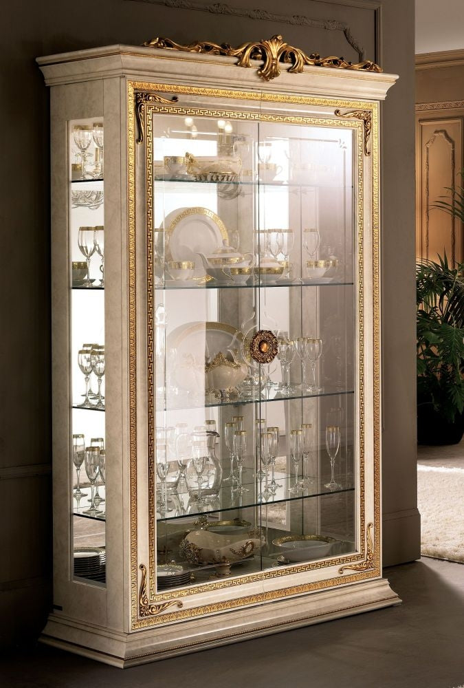 Leonardo Golden Italian 2 Door Glass Display Cabinet - ImagineX Furniture & Interiors