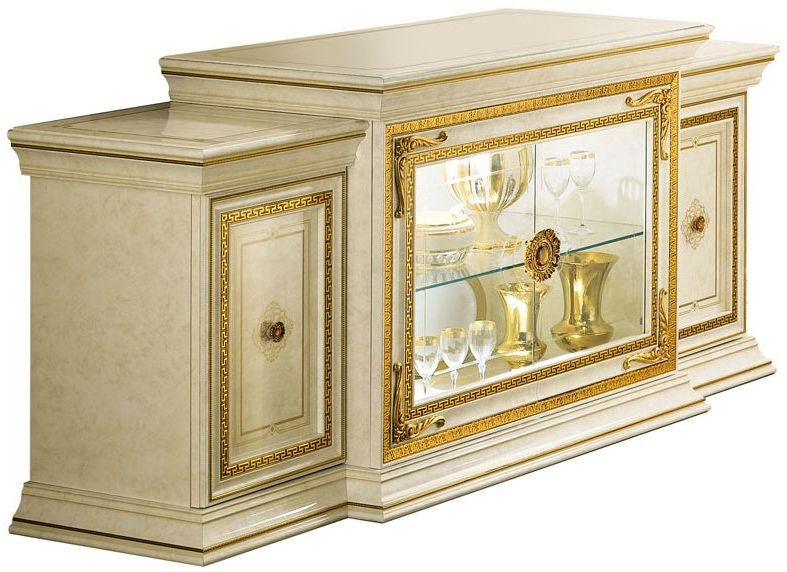 Leonardo Golden Italian 4 Door Wide Sideboard - ImagineX Furniture & Interiors