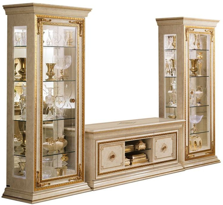 Leonardo Golden Italian 4 Door 9 Shelves TV Set Composition - ImagineX Furniture & Interiors