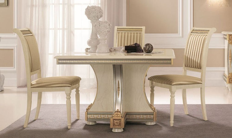 Liberty Ivory with Gold Italian Square Extending Dining Table - 118cm-158cm