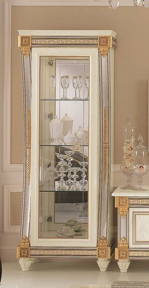 Liberty Ivory with Gold Italian 1 Door Display Glass Cabinet