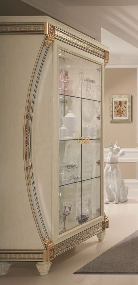 Liberty Ivory with Gold Italian 2 Door Display Glass Cabinet