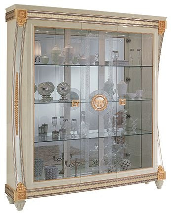 Liberty Ivory with Gold Italian 3 Door Display Glass Cabinet