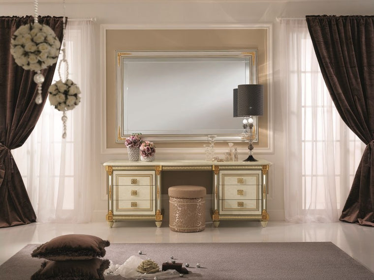 Liberty Ivory with Gold Italian Dressing Set with Large Mirror and Pouf