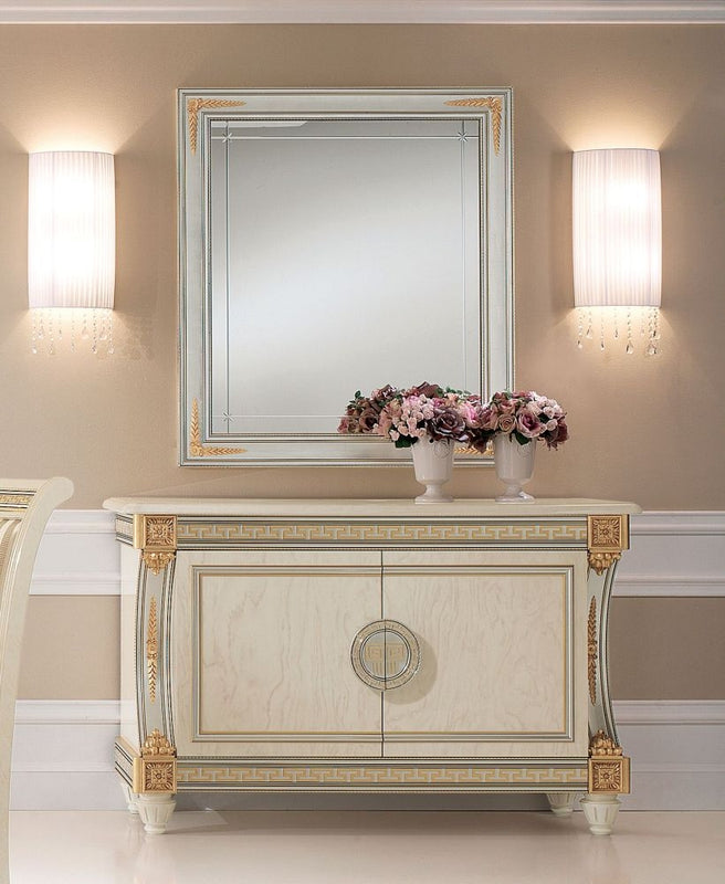 Liberty Ivory with Gold Italian 2 Door Medium Sideboard with Small Mirror - ImagineX Furniture & Interiors