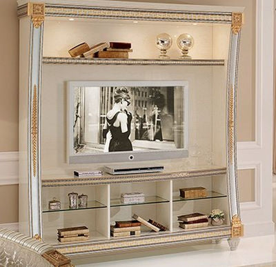 Liberty Ivory with Gold Italian Wall Unit Composition - ImagineX Furniture & Interiors