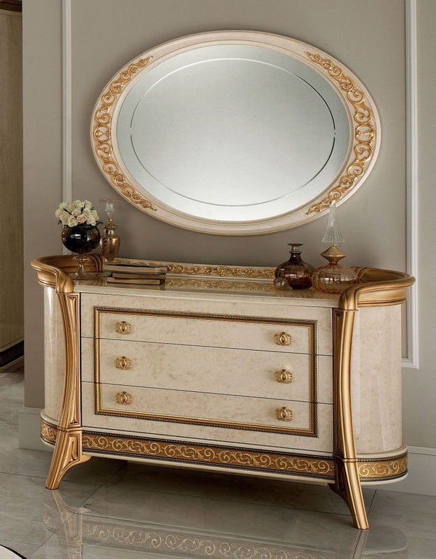 Melodia Golden Italian Dresser with Small Oval Mirror - ImagineX Furniture & Interiors