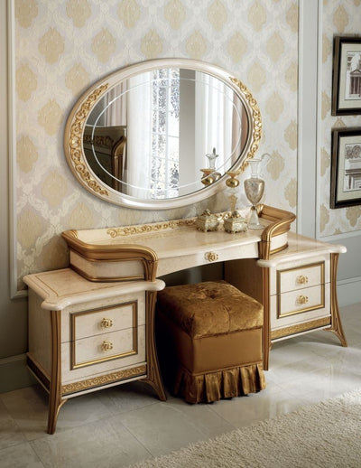 Melodia Golden Italian Dressing Set with Small Oval Mirror and Pouf - ImagineX Furniture & Interiors