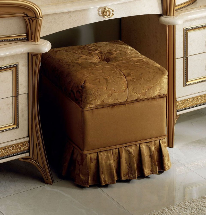 Melodia Golden Italian Fabric Pouf - ImagineX Furniture & Interiors
