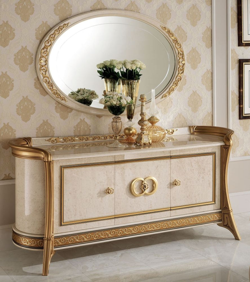 Melodia Golden Italian Sideboard - 3 Door with Large Oval Mirror - ImagineX Furniture & Interiors