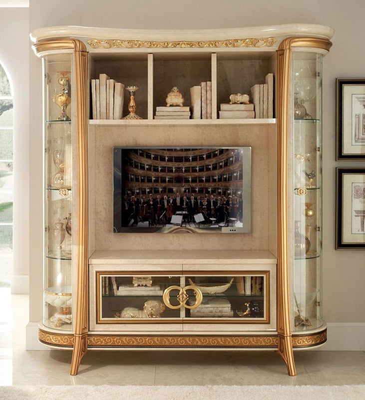 Melodia Golden Italian 4 Door 5 Shelves Wall Unit Composition - ImagineX Furniture & Interiors