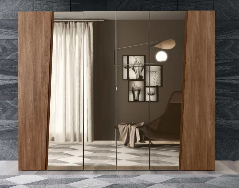 Storm Walnut Finish Italian 6 Door Mirror Wardrobe