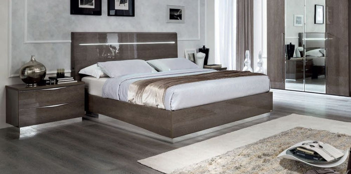 Platinum Night Letto Legno Italian High Gloss Luna Storage Ottoman Bed Frame - ImagineX Furniture & Interiors