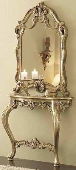 Leonardo Italian Barocco Mecca Gold Console Table with Mirror