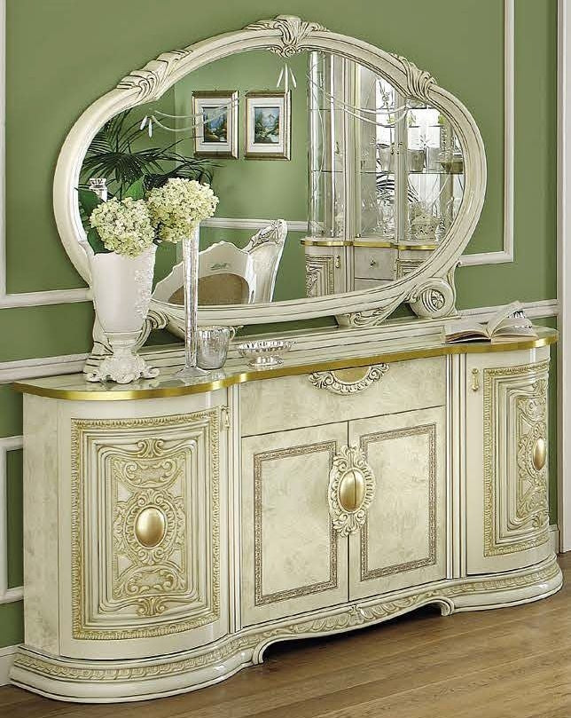 Leonardo Italian 4 Door Buffet + Large Mirror Set