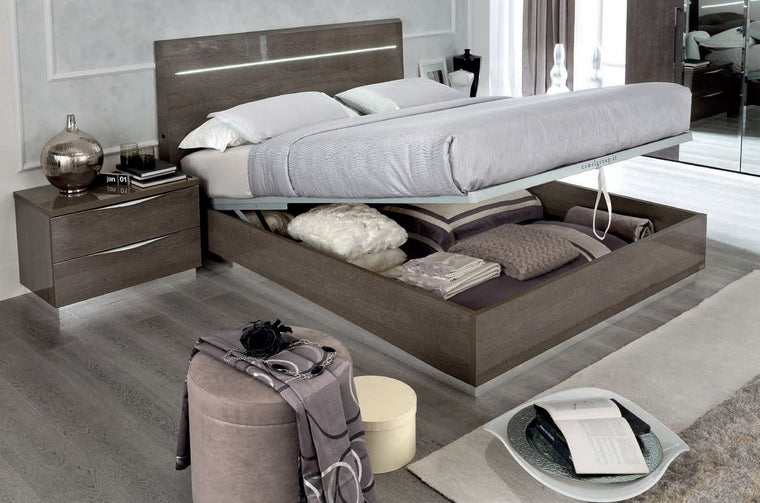 Platinum Night Letto Legno Italian High Gloss Luna Storage Ottoman Bed Frame