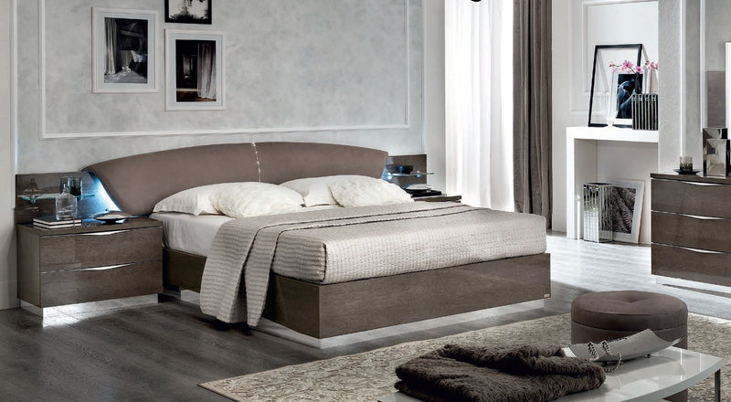 Platinum Night Letto Drop Italian High Gloss Luna Storage Ottoman Bed Frame - ImagineX Furniture & Interiors