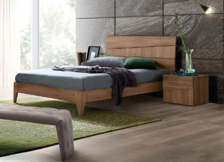 Storm Letto Walnut Finish Italian Bed Frame - ImagineX Furniture & Interiors