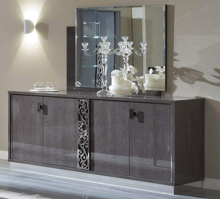 Platinum Day Glamour Italian Buffet - 4 Door Silver Birch High Gloss