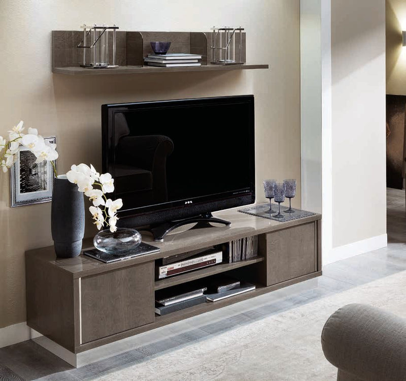 Platinum Day Italian Silver Birch High Gloss TV Cabinet - ImagineX Furniture & Interiors
