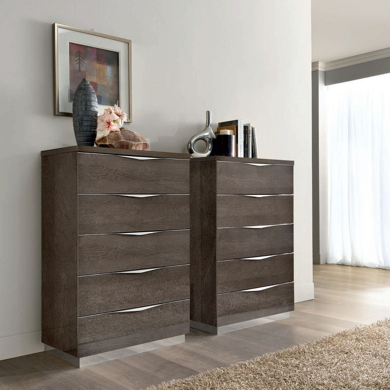 Platinum Night 75cm 5 Drawer High Gloss Tall Boy - ImagineX Furniture & Interiors