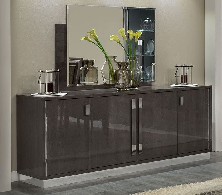 Platinum Day Slim Italian Buffet - 4 Door Silver Birch High Gloss - ImagineX Furniture & Interiors